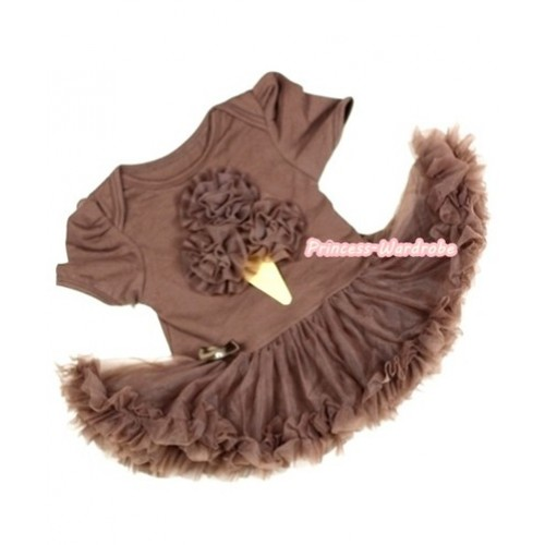 Brown Baby Jumpsuit Brown Pettiskirt with Brown Rosettes Ice Cream Print JS243