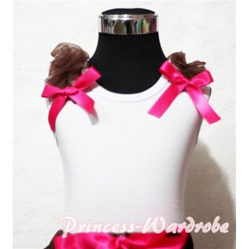 Brown Ruffles Hot Pink Bow White Tank Top
