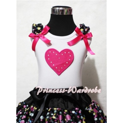 Hot Pink Sweet Heart White Tank Top with Rainbow Polka Dot Ruffles Hot Pink Bows TB151