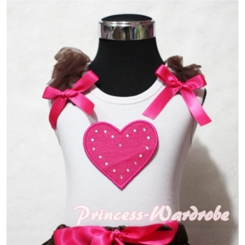 Hot Pink Sweet Heart White Tank Top with Brown Ruffles Hot Pink Bows TB152