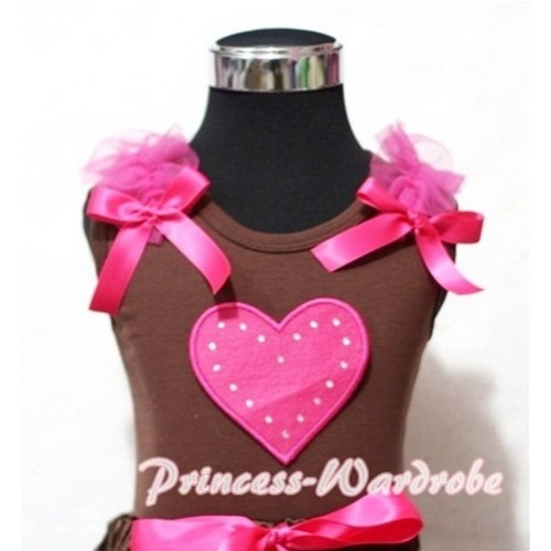 Hot Pink Sweet Heart Brown Tank Top with Hot Pink Ruffles Hot Pink Bows TM174