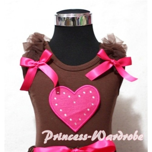 Hot Pink Sweet Heart Brown Tank Top with Brown Ruffles Hot Pink Bows TM175