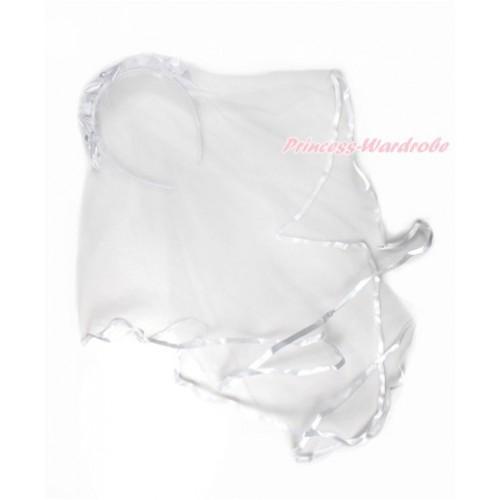 Elegant Pearl Flower Pure White Girl Wedding Bridal Bead Corsage Headband Veil Mask Costume C214