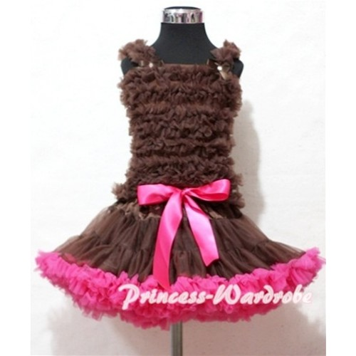 Brown Hot Pink Pettiskirt with Brown Ruffles Tank Top MR130