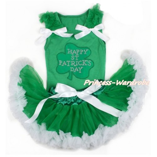 St Patrick's Day Kelly Green Baby Pettitop with Kelly Green Ruffles & White Bows with Sparkle Crystal Bling Rhinestone Clover Print with Kelly Green White Newborn Pettiskirt BG121