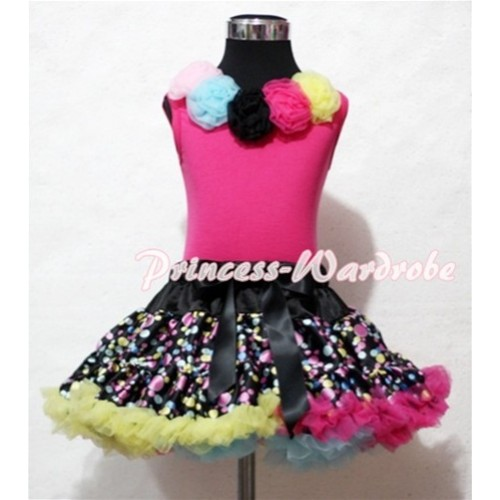 Black Rainbow Polka Dots Pettiskirt with Light Pink Blue Black Hot Pink Yellow Rosettes Hot Pink Tank Top MH29