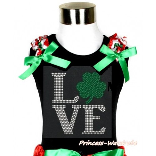 St Patrick's Day Black Tank Top With Red White Green Wave Ruffles & Kelly Green Bow With Sparkle Crystal Bling Rhinestone Love Clover Print TB678