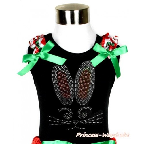 Easter Black Tank Top With Red White Green Wave Ruffles & Kelly Green Bow With Sparkle Crystal Bling Rhinestone Bunny Rabbit Print TB679