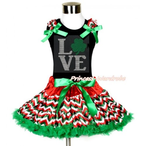 St Patrick's Day Black Tank Top with Red White Green Wave Ruffles & Kelly Green Bow with Sparkle Crystal Bling Rhinestone Love Clover Print & Red White Green Wave Pettiskirt MG1068