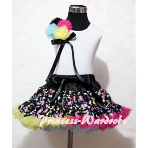 Black Rainbow Polka Dot Pettiskirt with Bunch of Black Light Blue Hot Pink Yellow Rosettes & Black Bow White Tank Top MG27