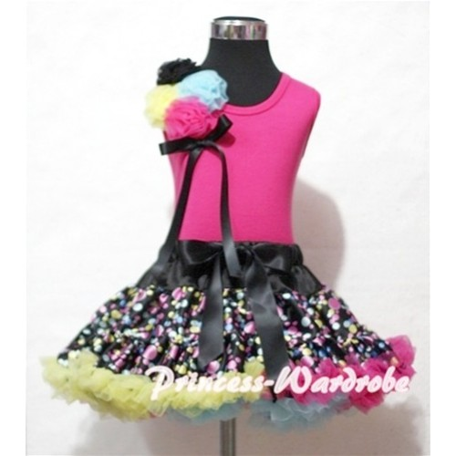Black Rainbow Polka Dot  Pettiskirt with Bunch of Black Yellow Light Blue Hot Pink Rosettes& Black Bow Hot Pink Tank Top MH32