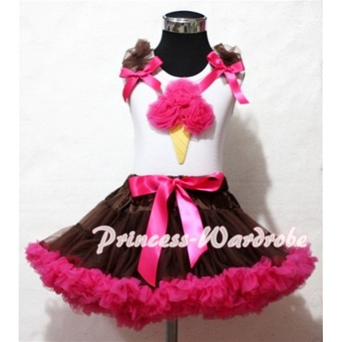 Brown Hot Pink Pettiskirt With Hot Pink Ice Cream White Tank Top and Brown Ruffles Hot Pink Bows ML38