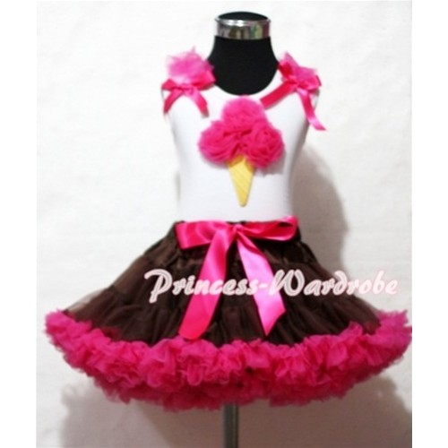 Brown Hot Pink Pettiskirt With Hot Pink Ice Cream White Tank Top and Hot Pink Ruffles Hot Pink Bows ML39