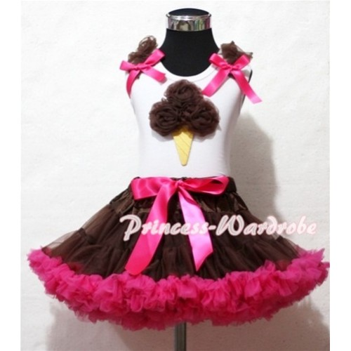 Brown Hot Pink Pettiskirt With Brown Ice Cream White Tank Top and Brown Ruffles Hot Pink Bows ML42