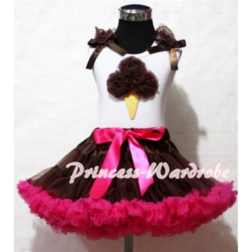 Brown Hot Pink Pettiskirt With Brown Ice Cream White Tank Top and Brown Ruffles Brown Bows ML43