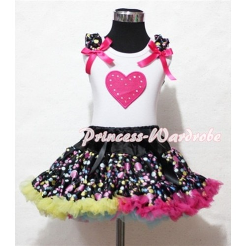 Hot Pink Sweet Heart Print Black Rainbow Dot Ruffles & Hot Pink Bow White Tank Top with Black Rainbow Polka Dot Pettiskirt MM132