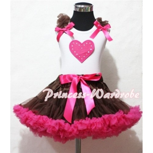 Hot Pink Sweet Heart Brown Ruffles Hot Pink Bow White Tank Top with Brown Hot Pink Pettiskirt MM133