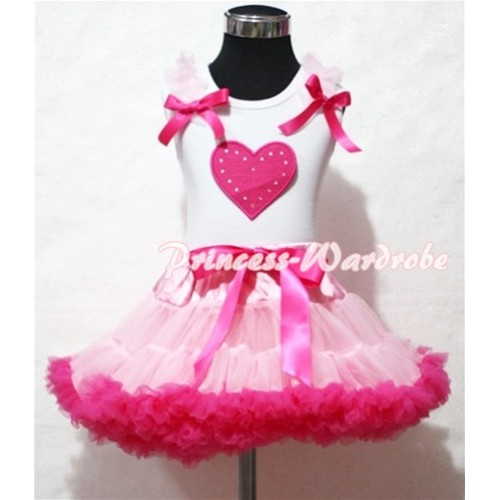 Hot Pink Sweet Heart Light Pink Ruffles Hot Pink Bow White Tank Top with Light Pink Hot Pink Pettiskirt MM134