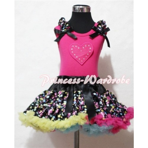 Hot Pink Sweet Heart Print & Black Rainbow Dot Ruffles & Black Bow Hot Pink Tank Top with Black Rainbow Polka Dot Pettiskirt MM139