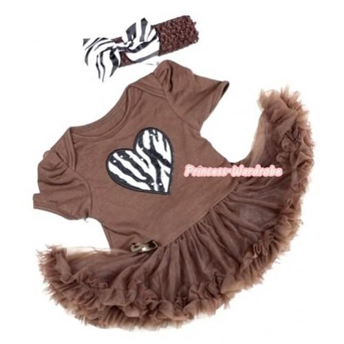 Brown Baby Jumpsuit Brown Pettiskirt With Zebra Heart Print With Brown Headband Zebra Satin Bow JS285