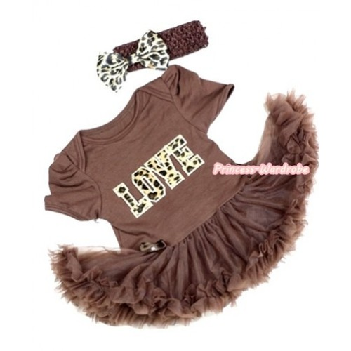 Brown Baby Jumpsuit Brown Pettiskirt With Leopard Love Print With Brown Headband Leopard Satin Bow JS287