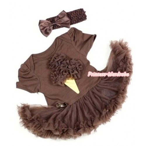 Brown Baby Jumpsuit Brown Pettiskirt With Brown Rosettes Ice Cream Print With Brown Headband Brown Satin Bow JS290