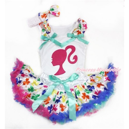 White Baby Pettitop with Rainbow Clover Ruffles & Aqua Blue Bows with Hot Pink Barbie Princess Print & Rainbow Clover Newborn Pettiskirt With White Headband Rainbow Clover Satin Bow NG1424