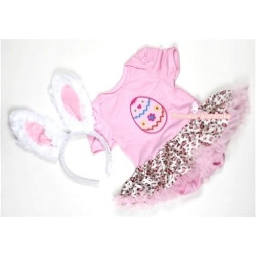 Light Pink Baby Jumpsuit Light Pink Leoaprd Pettiskirt With Easter Egg Print With White Rabbit Headband JS301