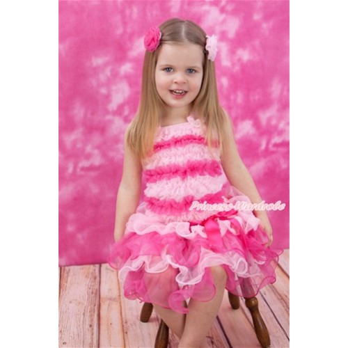 Light Hot Pink Baby Ruffles Tank Top With Hot Pink Bow Light Hot Pink Petal Baby Pettiskirt NR69