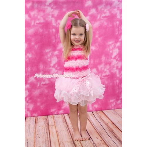Light Hot Pink Baby Ruffles Tank Top With Light Hot Pink Dots Bow Hot Pink White Dots Waist Light Pink White Petal Baby Pettiskirt NR70
