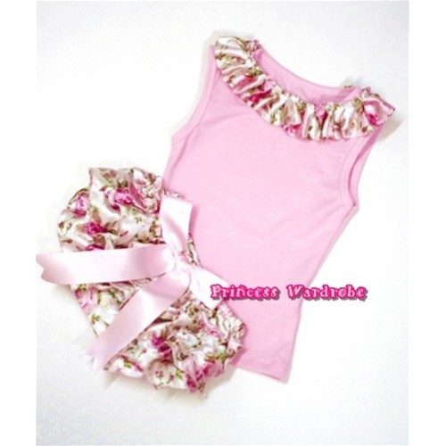 Light Pink Baby Pettitop With Light Pink Rose Fusion Satin Lacing With Light Pink Big Bow Light Pink Rose Fusion Satin Bloomers LD218