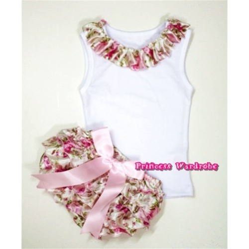 White Baby Pettitop With Light Pink Rose Fusion Satin Lacing With Light Pink Big Bow Light Pink Rose Fusion Satin Bloomers LD219