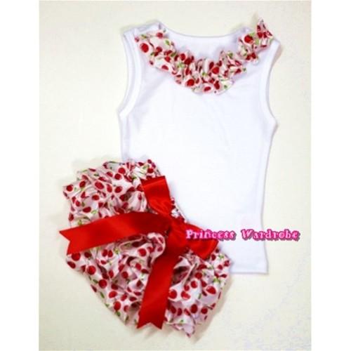 White Baby Pettitop With White Cherry Satin Lacing With Red Big Bow White Cherry Satin Bloomers LD220