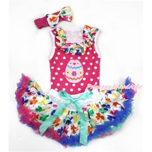 Easter Hot Pink White Dots Baby Pettitop with Rainbow Clover Satin Lacing with Easter Egg Print & Rainbow Clover Newborn Pettiskirt With Hot Pink Headband Rainbow Clover Satin Bow NP056