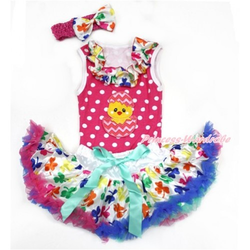 Easter Hot Pink White Dots Baby Pettitop with Rainbow Clover Satin Lacing with Chick Egg Print & Rainbow Clover Newborn Pettiskirt With Hot Pink Headband Rainbow Clover Satin Bow NP057