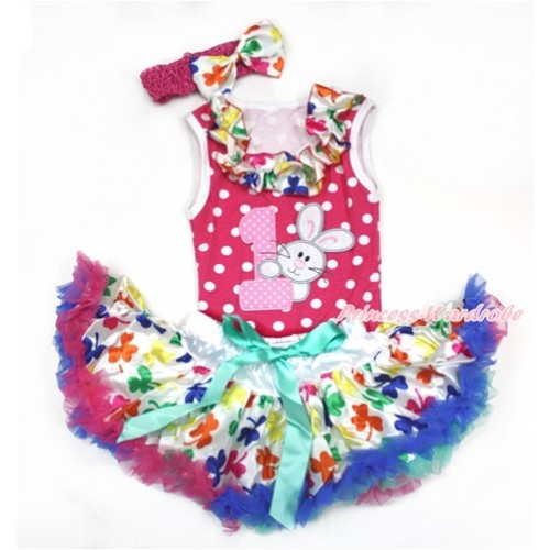 Easter Hot Pink White Dots Baby Pettitop with Rainbow Clover Satin Lacing with 1st Light Pink White Dots Birthday Number & Bunny Rabbit Print & Rainbow Clover Newborn Pettiskirt With Hot Pink Headband Rainbow Clover Satin Bow NP060