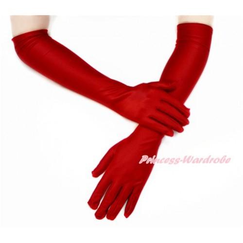 Red Wedding Elbow Length Princess Costume Long Satin Gloves C216