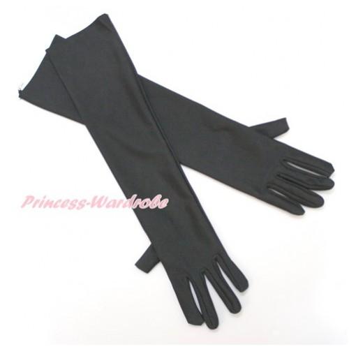 Black Wedding Elbow Length Princess Costume Long Satin Gloves C218