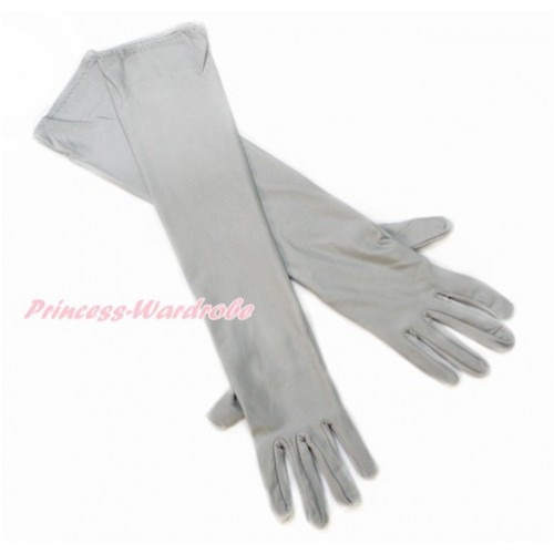 Grey Wedding Elbow Length Princess Costume Long Satin Gloves C220