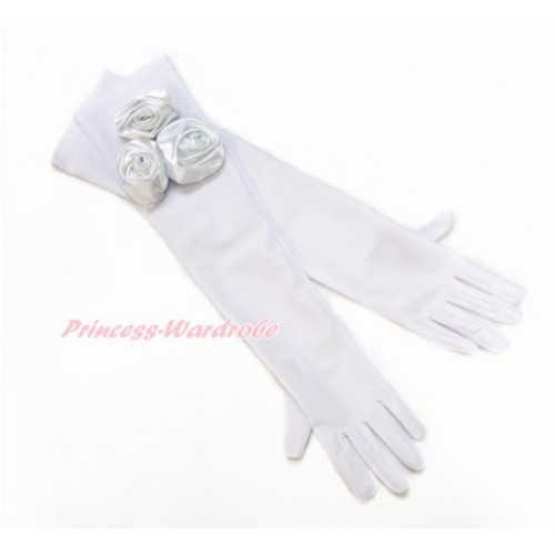 Pure White Wedding Elbow Length Princess Costume Long Satin Dress Gloves with Pure White Rosettes C222