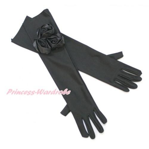 Black Wedding Elbow Length Princess Costume Long Satin Dress Gloves with Black Rosettes C223