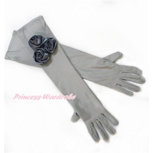 Grey Wedding Elbow Length Princess Costume Long Satin Dress Gloves with Grey Rosettes C225