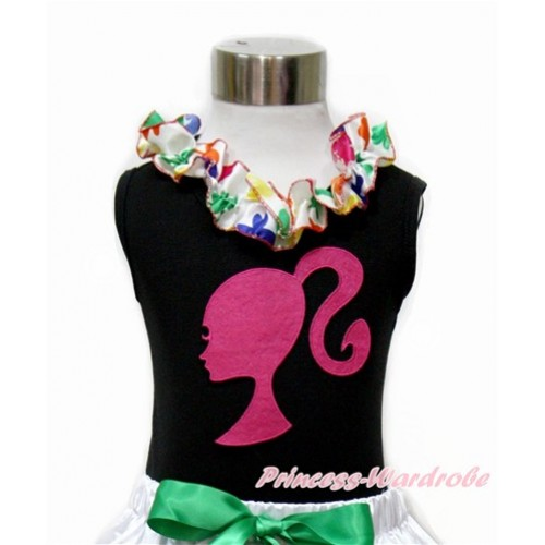 Black Tank Top With Rainbow Clover Satin Lacing With Hot Pink Barbie Princess Print TB685