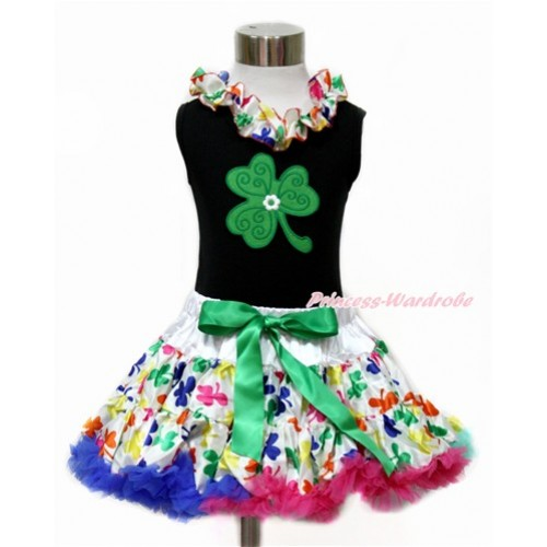 St Patrick's Day Black Tank Top with Rainbow Clover Satin Lacing with Clover Print & Rainbow Clover Pettiskirt MG1071
