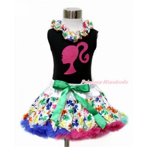 Black Tank Top with Rainbow Clover Satin Lacing with Hot Pink Barbie Princess Print & Rainbow Clover Pettiskirt MG1075