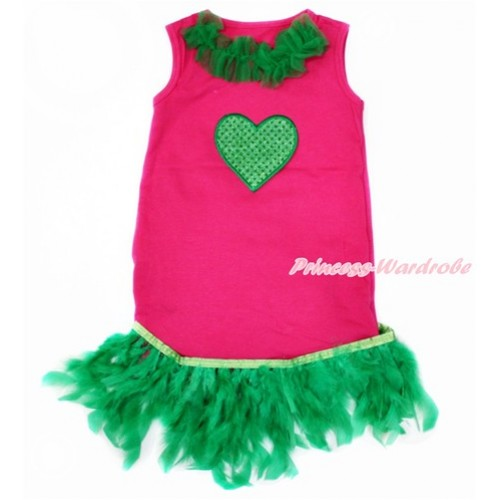 Hot Pink One-Piece Pettidress With Kelly Green Lacing & Sparkle Kelly Green Heart Print With Kelly Green Posh Feather Ruffles CD025