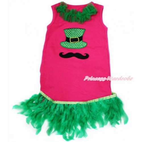 Hot Pink One-Piece Pettidress With Kelly Green Lacing & Mustache Sparkle Kelly Green Hat Print With Kelly Green Posh Feather Ruffles CD026