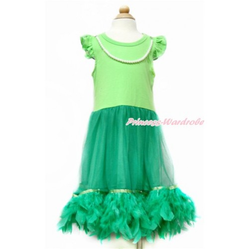 Little White Wing with Kelly Green Pearl ONE-PIECE Petti Dress with Kelly Green Posh Feather LP39