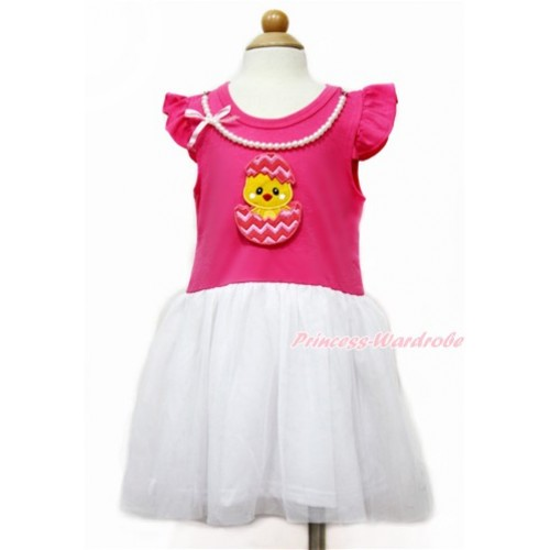 Easter Little White Wing with Hot Pink White Pearl Party Dress & Chick Egg Print PD044-1