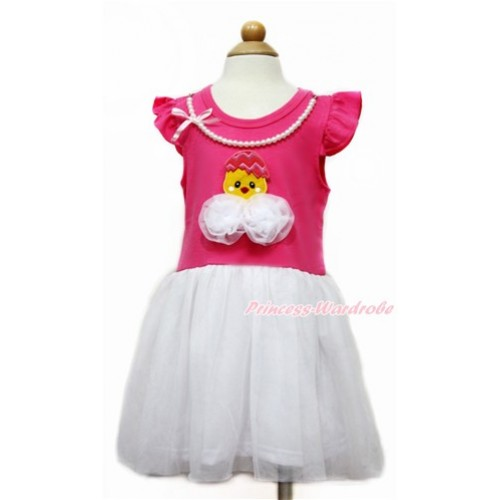 Easter Little White Wing with Hot Pink White Pearl Party Dress & 3D White Rose Chick Egg Print PD044-2